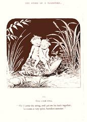 He seems a very quiet, harmless monster (katinthecupboard) Tags: vintagechildrensillustrations monotone comurray elves mushroom toadstool toad frog