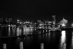 View from my Office Window (alexmx22) Tags: night city cityscape nikon d600 monochrome blackandwhite bw nocturnal nightshift boston tdgarden zakimbridge bunkerhillbridge bridge harbor boats beantown reflections water fall o