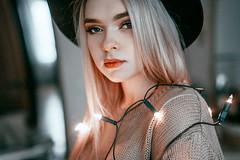 Hello. (bananashamp-oo) Tags: canon digital portrait photography photo 5d light people woman female fullframe face hat hair winter girl indoor