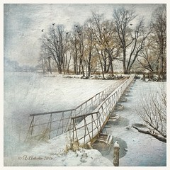 Rural bridge. (odinvadim) Tags: mytravelgram textured textures iphone editmaster travel iphoneography sunset evening iphoneonly artist snapseed landscape iphoneart graphic painterlymobileart winter