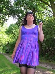 Smile (Paula Satijn) Tags: sexy hot girl gurl dress skirt minidress miniskirt purple shiny metallic stockings tgirl transvestite forest outside free smile path summer stockingtops lace spandex
