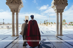 Mausoleum of Mohammed V - Rabat, Morocco (Naomi Rahim (thanks for 2 million hits)) Tags: rabat morocco africa northafrica 2016 travel travelphotography nikon nikond7200 islamic culture mosque guard architecture person redcape man moorish moors men twomen hassantower muslim   mausoleumofmohammedv