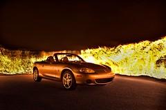 In flames (Gergo Keseru) Tags: light car painting long exposure flames nb mazda miata mx5 roadster carporn