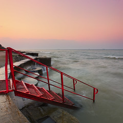 By the sea (tulbanov) Tags: morning red sea sky black water canon square landscape dawn wave ukraine minimalism     550d