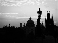 Spires -BW (Firery Broome) Tags: architecture landscape cityscape towers spires lamppost sky clouds morninglight earlymorning autumnsunrise prague charlesbridge historic historicplaces historicicons europe europe2014 skyscape skyline silhouette olympus em10 olympusem10 photoshop viveza alienskin exposurex2 monochrome blackandwhite blackwhite bw blackandwhitelandscape 365 czechrepublic
