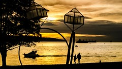 Engagement (Sworldguy) Tags: vancouver engagement publicart sunset water parks nightscene westend dennisoppenheim sculpture beach britishcolumbia bc golden englishbay downtown art silhouette 50mm nikon d7000 dslr landscape night tankers ships boats serene sea dusk