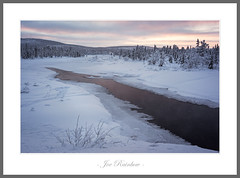 Dark River (Joe Rainbow) Tags: landscape sweden river cold snow water sunset trees grass forest nature