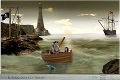 IL MARINAIO E LA SIRENA (ADRIANO ART FOR PASSION) Tags: sirena mermaid barca boat marinaio sailor man uomo elaborazione fantasia fantasy faro lighthouse photoshop slwork alba photoshopcreativo