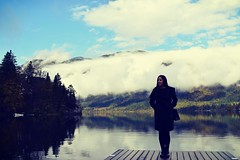 I found peace in my way (anvelvet) Tags: bohinj girl lake autumn fall daydreaming peace beautiful nature music pier mountain fog forest sky feelings