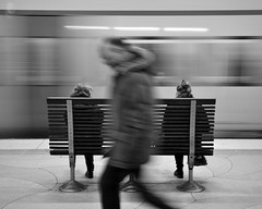 Passing [explored] (p2-r2) Tags: nikon d7000 tamronspaf1750mmf28diiild blackandwhite stockholm sweden street people train station railway sdra underground motion platform explored