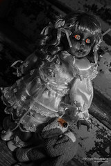 Dead Doll (Skyelyte) Tags: doll spooky blackandwhite indoor stairs wood paint peeling scary creepy dog stuffed halloween lace dress art artdoll artisttericampbelllong porcelain old antique antiquestairs freaky haunted stilllife stillshot selectivecoloring ugly uglystairs dollartworkbylonggonedolls