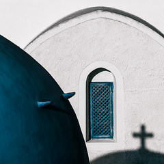 Oia Impressions #3 (One_Penny) Tags: greece santorini santorin thira oia island mediterranean architecture griechenland dome blue white church cross building square squareformat squarecrop window religion religious symbol lines curves geometry composition shapes minimal abstract shadow aegean