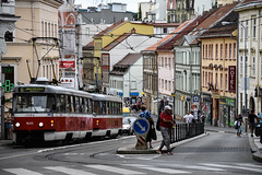 In Brno (jmarnaud) Tags: czech 2016 family summer south moravia brno city walk street old building church people tramway