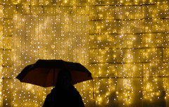 Golden Rain (CoolMcFlash) Tags: person woman silhouette flickrfriday golden lights wall vienna umbrella rain rainy wet canon eos 60d tamron a007 2470 standing frau kontur gold lichter christmas weihnachten decoration dekoration wand wien belvedere regenschirm regen wetter regnerisch nas fotografie photography negativespace copyspace