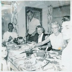 Happy #Thanksgiving! Another old family photo I got recently, great grandparents in the middle (ggfather is standing). #vintage #oldfamilyphotos #1950s (diana gee) Tags: vintagethanksgiving frenchamerican oldfamilyphotos 1950s vintage