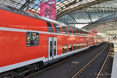 Berlin Central Station. Germany. (Svitlana Clover) Tags: berlin germany appleiphone6s europe vacation trip tour journey voyage station red blue architecture train carriages rails black