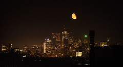 Moon Rising Over Downtown Toronto (Michael Vermeer) Tags: toronto moon rise moonrise downtowntoronto