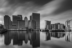 Steely Reflections - Blackwall Basin (Aleem Yousaf) Tags: canary wharf blackwall basin steely reflections 1835mm nikon d800 photo walk water long exposure finiancial office buildings citi hsbc barclays skyline city architecture waterfront outdoor ilobsterit blackandwhite monochrome
