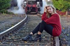 On track (Kai Beinert) Tags: train portrait girl track nikon zug eisenbahn schienen shooting lokomotive bokeh gleise bahngleise blonde blondine blond hair haare beauty schönheit