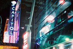 Capitol Theatre Reflection (goodfella2459) Tags: nikon f4 af nikkor 50mm f14d lens cinestill 800t 35mm c41 film analog colour capitol theatre sign reflection window sydney aladdin milf night building