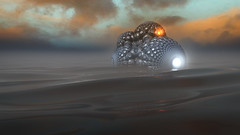 The Landing (eXalk) Tags: art abstract spaceship design digital dream water fog grafik geometric lights mandelbulber computergrafik fantasy fractal render reflection 3d mesh