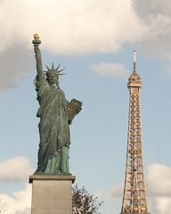 Statue of Liberty replica, Eiffel Tower Paris