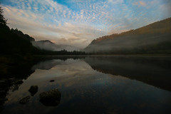 Lake (Costigano) Tags: glendalough wicklow lowerlake ireland irish lake lough water reflections sunrise clouds outdoor scenic scenery landscape mountains canon eos