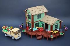 Jack's Flower Shop (Gabe Umland) Tags: lego gabe umland flower shop sand green flowers house porch truck 1960s lampost arrangments workshop technique