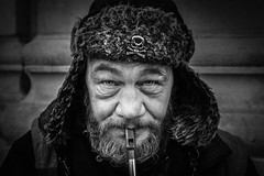 Tin Whistle (eyecandyclick) Tags: tinwhistle music hat skullandcrossbones beard outside streetportrait justoneclick streetphotography portrait border happy dance sing song streets blow look soul