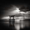 beyond the black gate (StephenCairns) Tags: morning bw sun lake mountains japan clouds contrast sunrise rays sunrays shiga blackandwhitephotography takashima lakebiwa shigaprefecture stephencairns shirahigejinjya