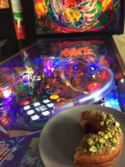 Not your average breakfast. Not your average table #pinball #cronut #sugarfix (murray_fortescue) Tags: pinball sugarfix cronut