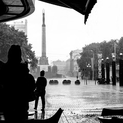 rainfall in Riga (Chris B70D) Tags: street travel chris windows light shadow summer sky urban sun holiday brick travelling art history stone architecture clouds composition canon buildings landscape daylight scenery europe raw escape natural exploring details scenic landmarks architectural latvia shade historical editing nouveau viewpoint eastern tone riga jurmala 70d berridge