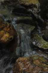 running water (Molly Des Jardin) Tags: park trees orange usa green water yellow rock stone creek forest flow waterfall moss movement rocks state pennsylvania stones rocky running lancaster algae slippery 2014 susquehannock drumore 43215mm