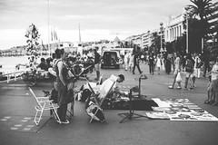 Streets of Nice (Julia Dunlop) Tags: world trip sunset sea summer sky holiday black france art beach dark lights evening blackwhite nice frankreich artist wanderlust nizza knstler
