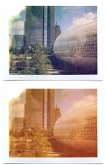Unfried with Photoshop. For Science. (UberJ) Tags: city color film oklahoma gardens buildings polaroid silk pack devon automatic land myriad okc expired oklahomacity 250 colorshift myriadgardens packfilm 125i