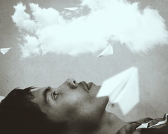 Dream and reality (Faiz Bahiyuddin) Tags: portrait people clouds dream fantasy paperplane