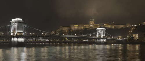 The Chain Bridge and Castle of Buda in the Evening