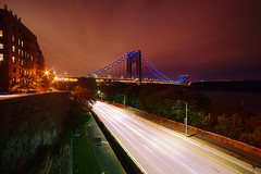 Washington Heights (mudpig) Tags: nyc newyorkcity longexposure bridge ny newyork building architecture river geotagged newjersey highway cityscape view cloudy manhattan steve nj kelley hudsonriver westsidehighway hdr apartmentbuilding gwb fortlee georgewashingtonbridge washingtonheights i95 interstate95 henryhudsonparkway prewar lightstream mudpig traffictrail stevenkelley