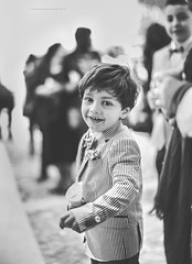 Rise in hand, waiting for the bride and groom to come out (De Mi Ser) Tags: wedding blackandwhite church monochrome groom bride ceremony bridal brideandgroom