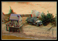 Danville AAF Tank Museum RCBattlefield Allied River Base Camp - Anaglyph 3D (DarkOnus) Tags: camp scale museum lumix virginia stereogram 3d wwii battle anaglyph panasonic stereo danville american armor battlefield base stereography carrier 116 halftrack personnel aaf allied redcyan m3a1 dmcfz35