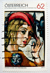 "great stamp Austria 62c ""self portrait with red hat"" (modern art painting by Marie-Louise von Motesiczky 1906-1996, Selbstportrt mit rotem Hut) poste-timbres Autriche sellos Austria selos Briefmarken sterreich porto franco francobolli postzegel selo 62 (thx for sending stamps :) stampolina) Tags: red portrait woman selfportrait rot art girl hat modern postes painting austria oostenrijk sterreich women artist arte stamps modernart kunst cent hut frau selbstportrait postage postzegel modernekunst 62 autriche knstler sellos  briefmarken markas pulu selos timbres francobolli zegels znaczki frimerker frimaerke pullar timbru  postapulu postestimbres postetimbres znamk"