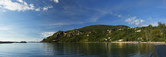Arilla Bay Panoramic (ORIONSM) Tags: blue trees sea vacation sky holiday water landscape bay coast sony panoramic greece syvota rx100 arilla