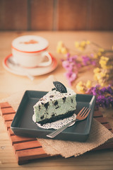 Peppermint cheese cake in cafe (silaaa) Tags: morning food cake cheese vintage pie relax dessert cuisine restaurant yummy cafe cookie afternoon sweet cut chocolate background fat decoration hipster cream style tasty retro gourmet delicious biscuit homemade filter bakery cracker piece effect decorate luxury culinary peppermint unhealthy eatery slowlife garnished instagram ilobsterit