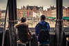 Terrace With A View (Gilderic Photography) Tags: city trip travel boy people panorama girl architecture canon square couple place belgium belgique belgie terrace brugge tourist backpack romantic bruges ville 500d gilderic