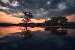 Reflections (emil.rashkovski) Tags: trees sunset sky lake reflection water colors clouds mirror mood dam reservoir bulgaria