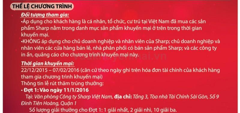 Khuyến mãi rút thăm trúng thưởng từ Sharp Việt Nam