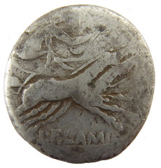 Flaminia, 109 - 108 BC (Welcome to The PAST) Tags: hammered treasure roman brooch medieval hoard republican ironage fibula denarius denarii