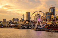 Sunset with the space needle (Eve Photography By JC Clemens) Tags: seattle space needle nikon tamron bay pier 54 ivars boats ocean sunset lanscape landmark ferry hdr washington bainbridge