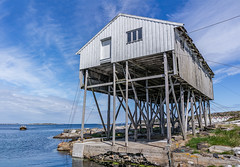 """House on stilts"" (Terje Helberg Photography) Tags: sky sea water boat sun clouds coast ocean rocks building horizon seascape coastal stilts coastalenvironement rope ropes wire wirea"