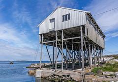 """House on stilts"" (Terje Helberg Photography) Tags: sky sea water boat sun clouds coast ocean rocks building horizon seascape coastal stilts coastalenvironement rope ropes wire wirea"